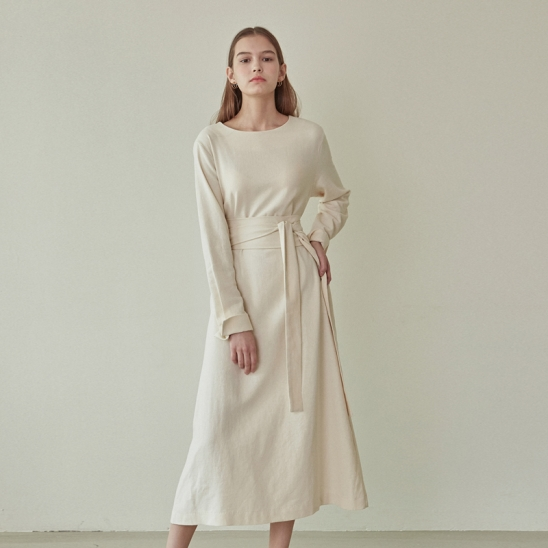 PURE BELTED LONG DRESS_CREAM