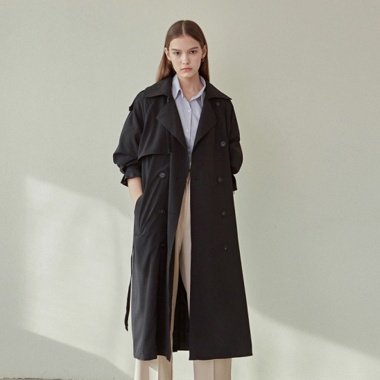 LOOSE-FIT DOUBLE TRENCH COAT_BLACK