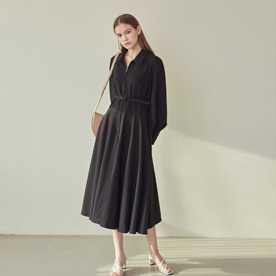 BELT FLARE COLLAR DRESS_BLACK