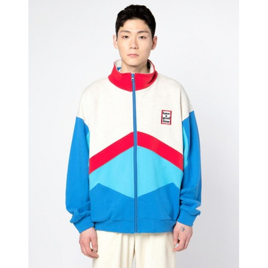 MINI FRAME 4 COLOR ZIP-UP SWEATSHIRT-BLUE/RED