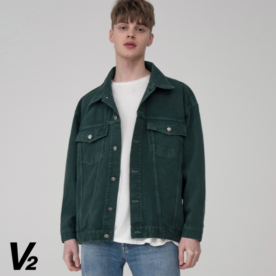 Overfit color everlasting trucker jacket_green