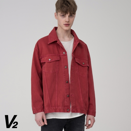 Overfit color everlasting trucker jacket_red