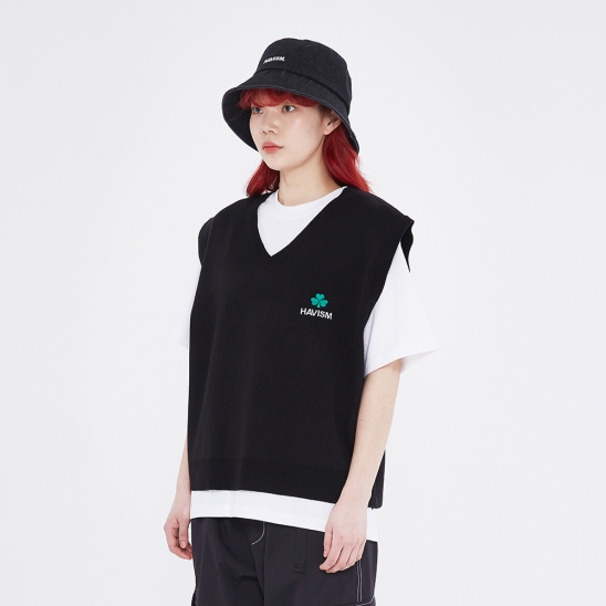 CLOVER LOGO CROP KNIT VEST(BLACK)