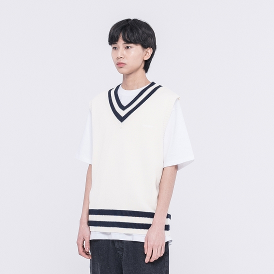 CLEAR LABEL COLOR BLOCK KNIT VEST(IVORY)