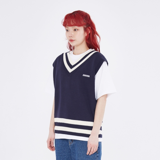 CLEAR LABEL COLOR BLOCK KNIT VEST(NAVY)