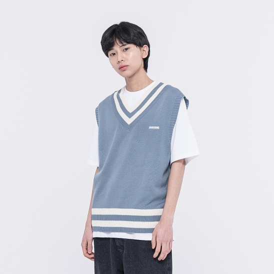 CLEAR LABEL COLOR BLOCK KNIT VEST(SKY BLUE)