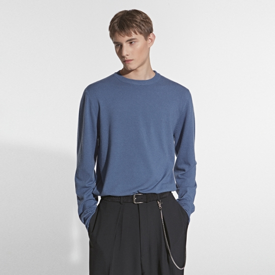 CASHMERE CREW NECK KNIT_BLUE