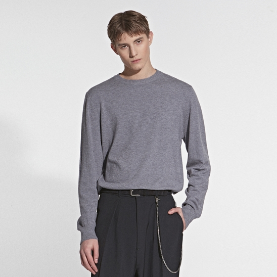 CASHMERE CREW NECK KNIT_GRAY