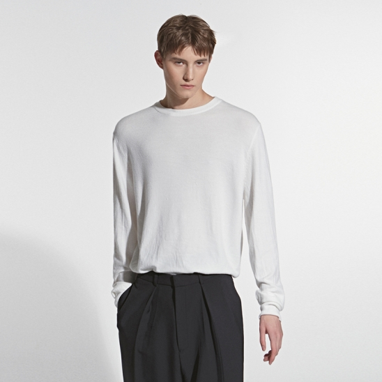 CASHMERE CREW NECK KNIT_WHITE
