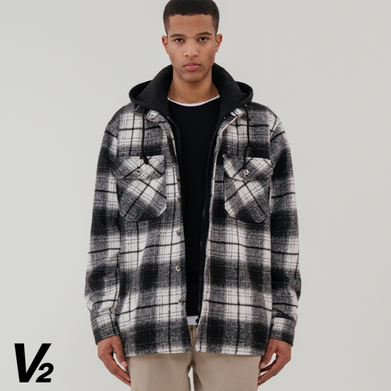 Overfit two pocket check hood jacket