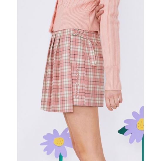 (SK-20145) CHECK PLEAT WRAP SKIRT PINK