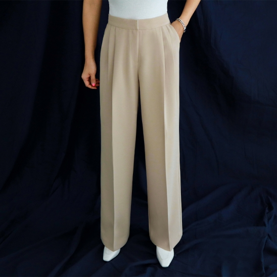 Basic wide slacks - beige