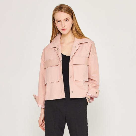 Crop pocket jacket - pink