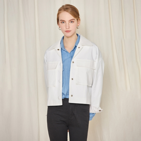 Crop pocket jacket - white