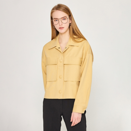 Crop pocket jacket - yellow