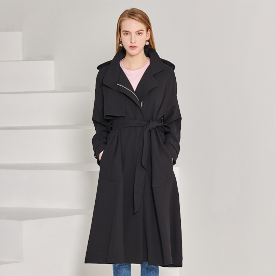 Epaulet zipper trench coat - black