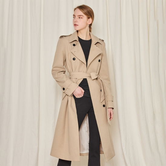 Long double trench coat - beige