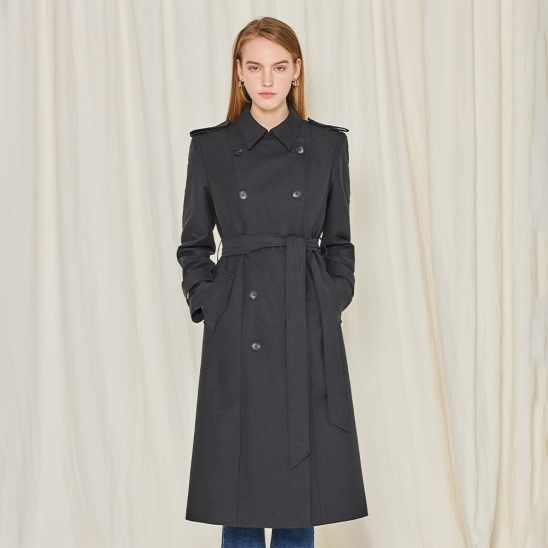 Long double trench coat - black