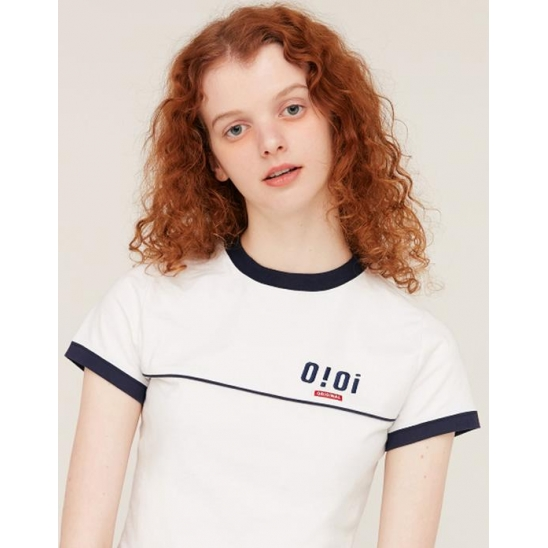 PIPING POINT CROP T-SHIRTS_WHITE