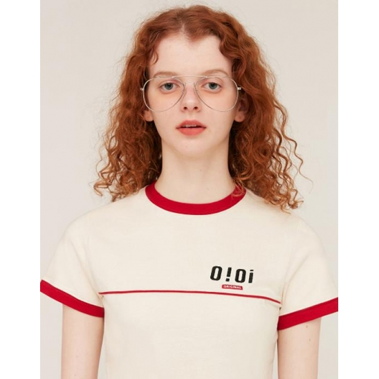 PIPING POINT CROP T-SHIRTS_CREAM