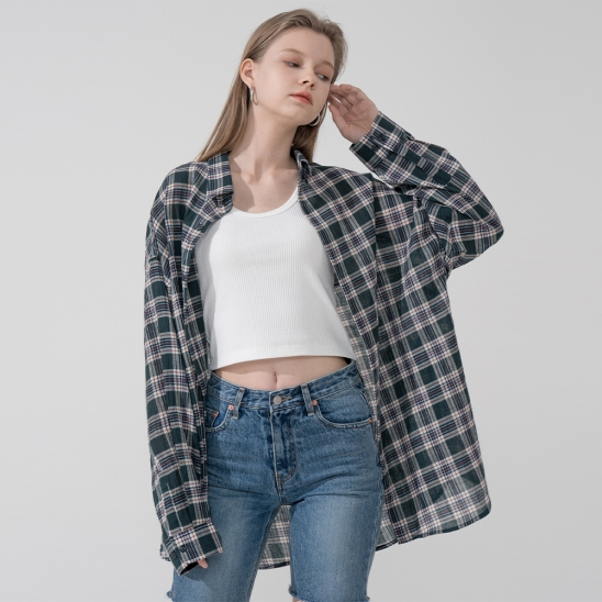 Overfit endless check shirt_ivory