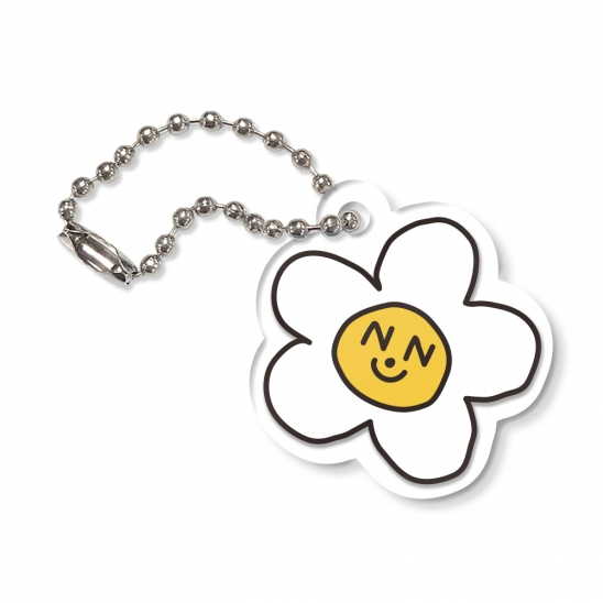 Flower graphic-white(key ring)
