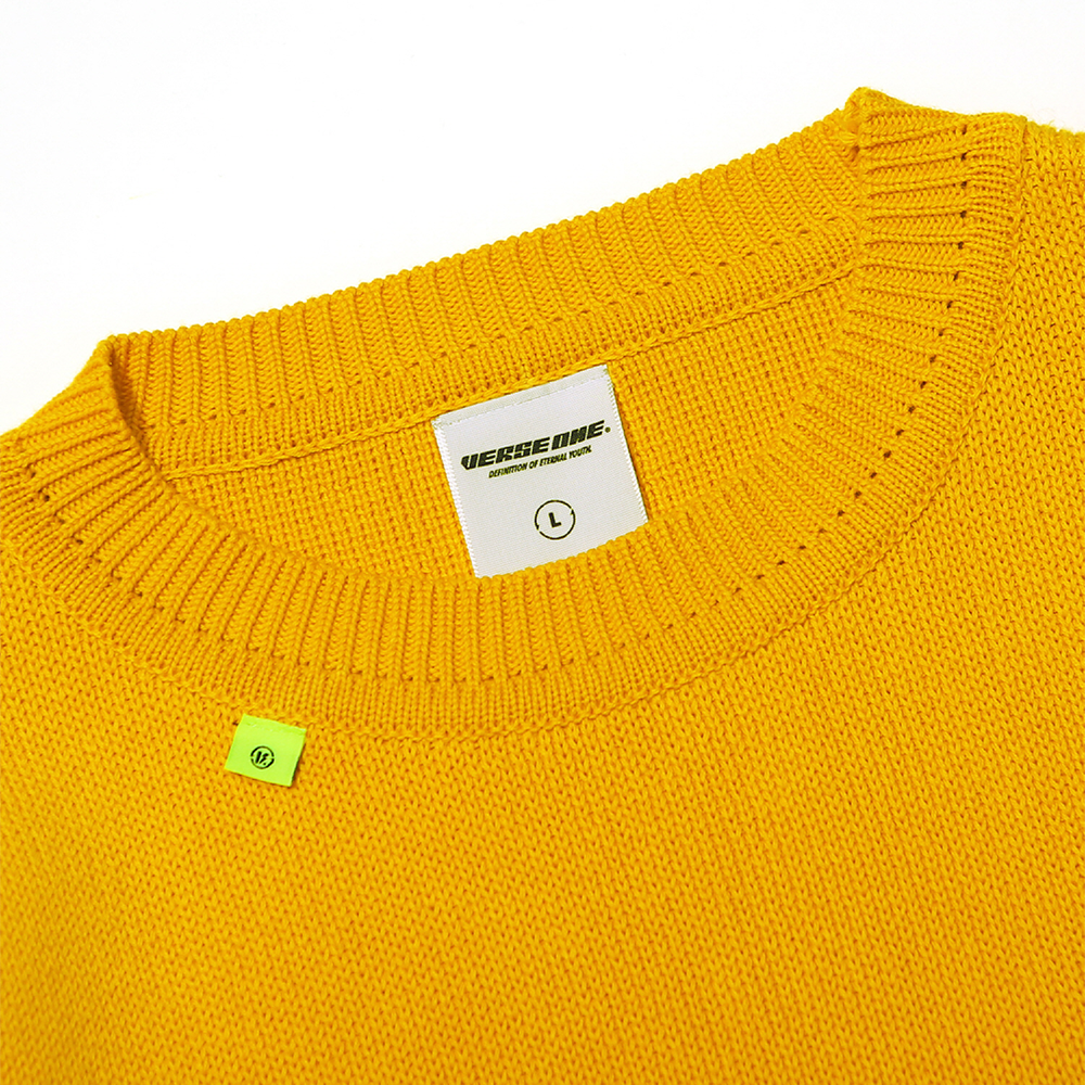 OVERSIZED BASIC LOGO KNIT SWEATER MUSTARD