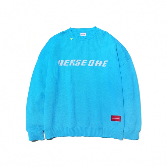 OVERSIZED BASIC LOGO KNIT SWEATER SKY BLUE