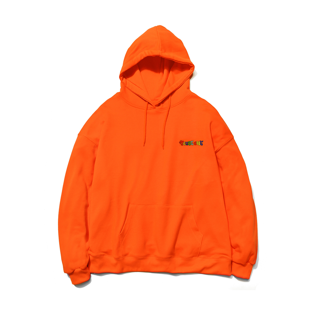 GRAFFITI LOGO PRINTED HOODIE NEON ORANGE