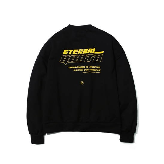 SLOGAN LOGO PRINTED SWEATSHIRT CREWNECK BLACK