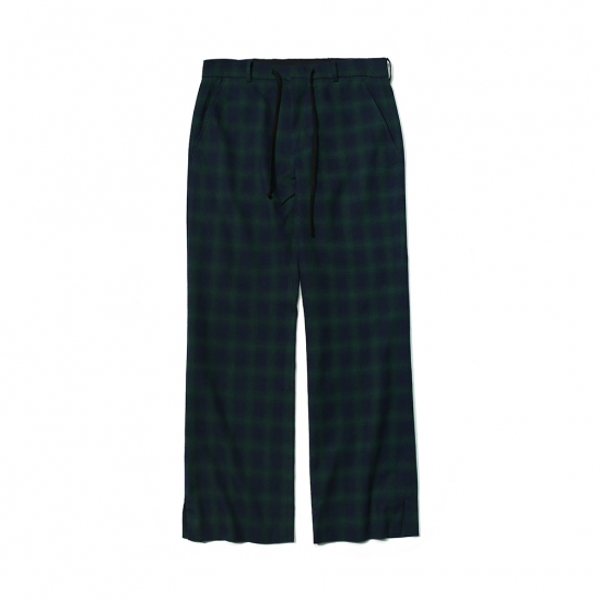 CHECK PATTERN RELAXED TROUSERS GREEN