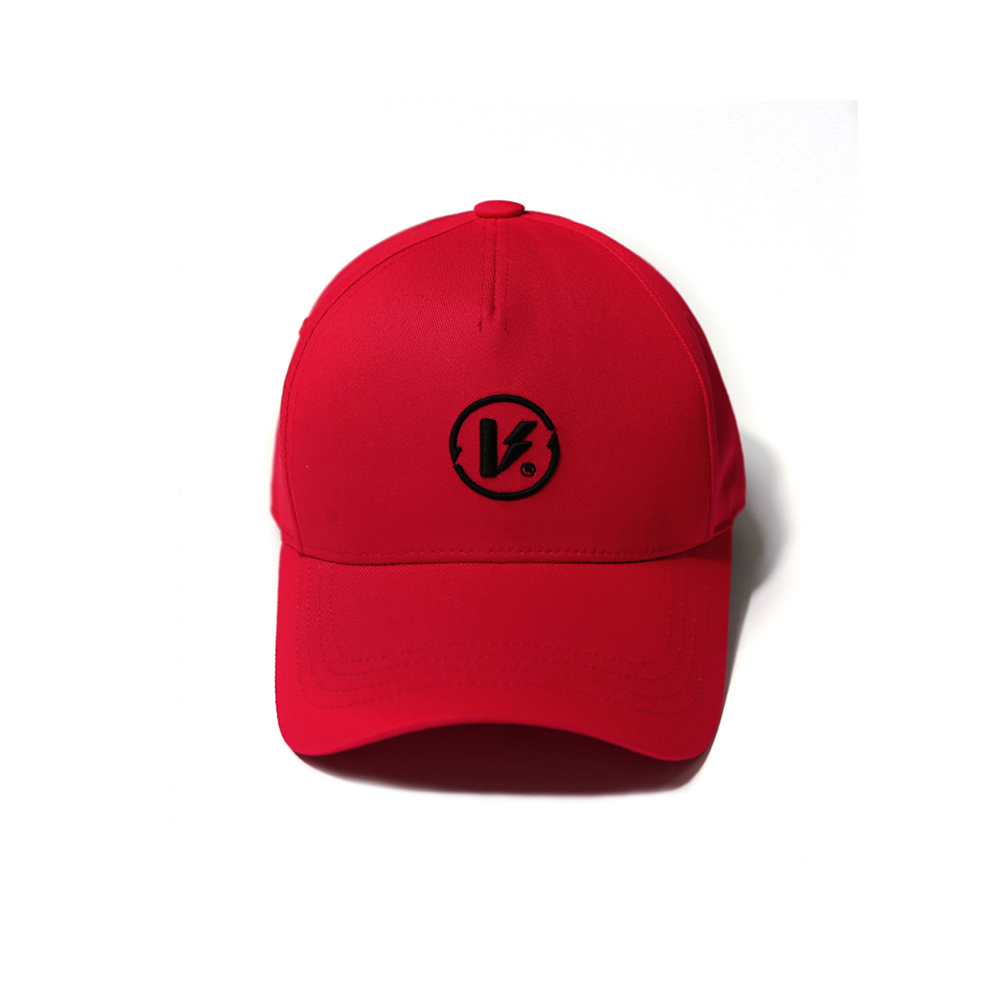 EMBROIDERED LOGO BALL CAP RED(5 PANEL)