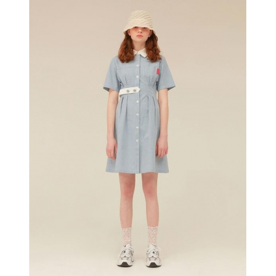 [OiOiCOLLECTION] STRAP POINT SHIRTS ONEPIECE_BLUE CHECK