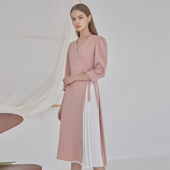 WRAP PUFF PLEATS LONG OPS_PINK