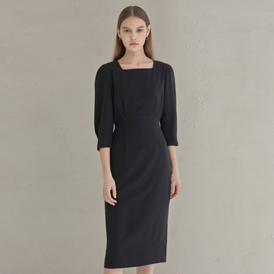 SLIM WAIST ROBE LONG OPS_BLACK
