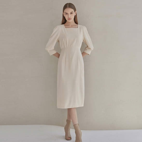 SLIM WAIST ROBE LONG OPS_CREAM