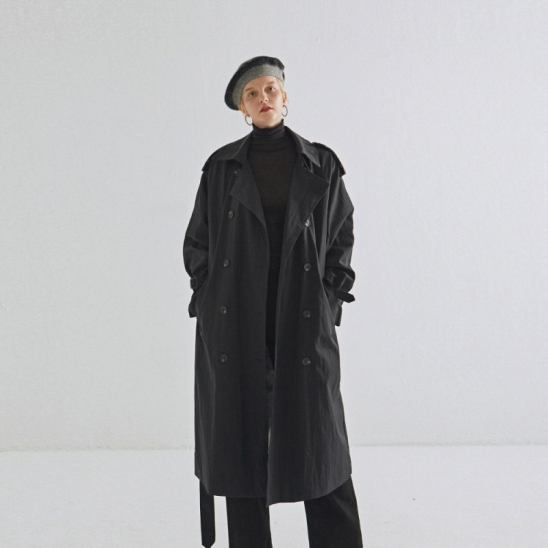 CLASSICAL DOUBLE TRENCH COAT_BLACK