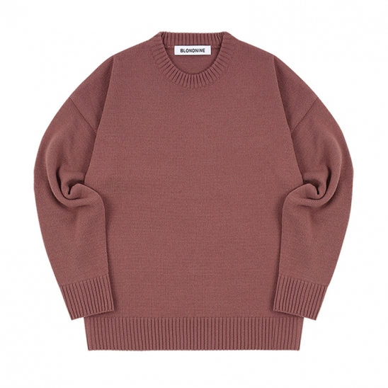 ROUND KNIT SWEATER_RED BEAN