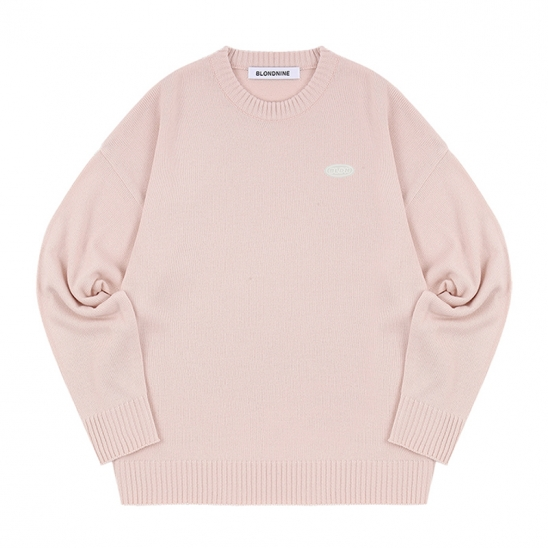WAPPEN ROUND KNIT SWEATER_PITCH PINK