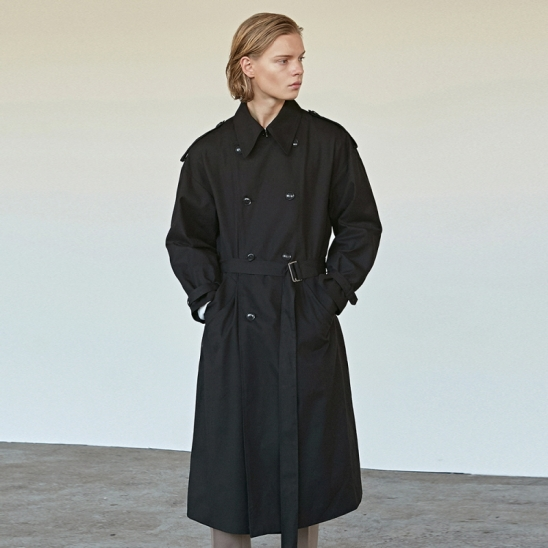 COTTON BUCKLE TRENCH COAT_BLACK