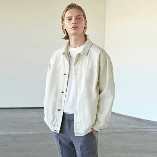 OVER NEWEST TRUCKER JACKET_CREAM