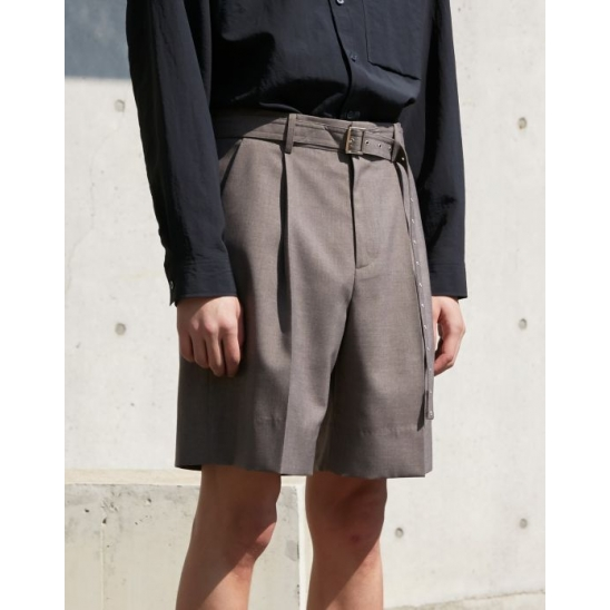 BELTED BERMUDA SHORTS CHARCOAL