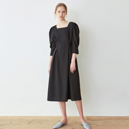 ROBE SLIM WAIST LONG OPS_BLACK