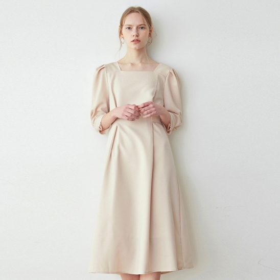 ROBE SLIM WAIST LONG OPS_LIGHT BEIGE