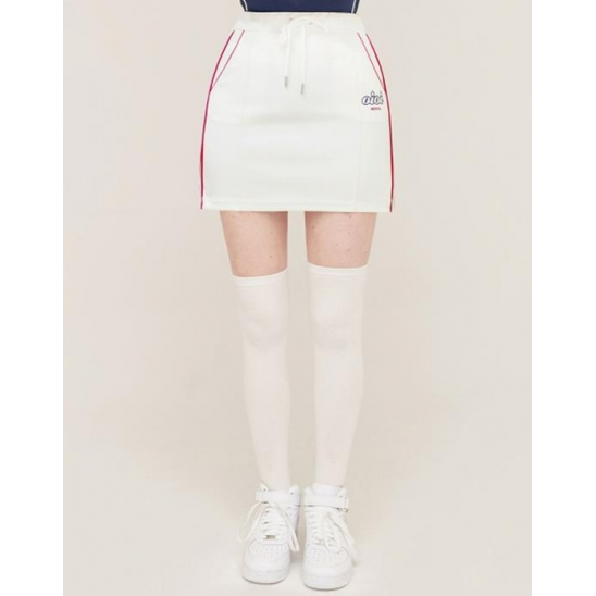 PIPING POINT TRACK SKIRT_WHITE