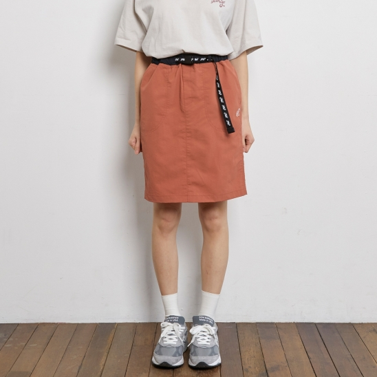 ASK014_Belted Mini Skirt_Red Brown