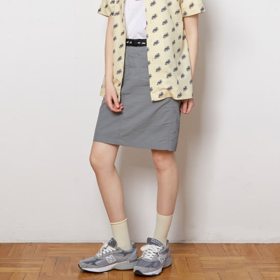 ASK017_Belted Mini Skirt_Gray