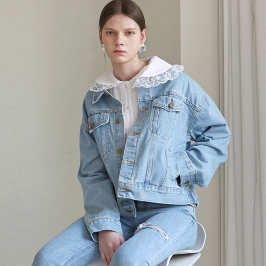 WASH CROP DENIM JACKET_DENIM