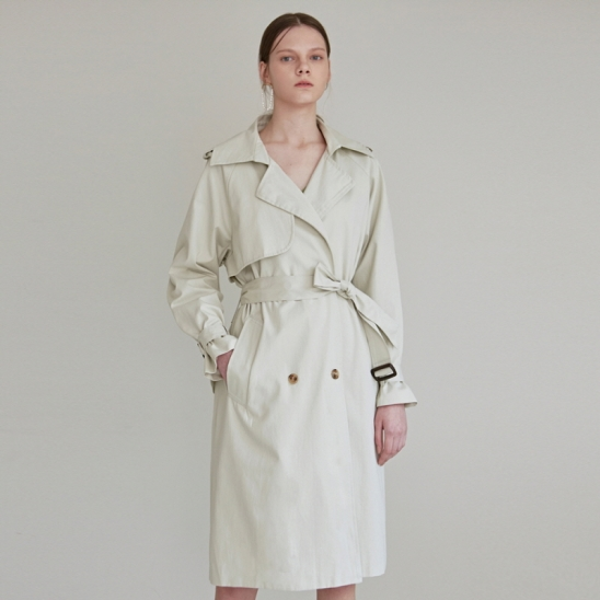 PASTEL DOUBLE TRENCH COAT_LIGHT GREEN