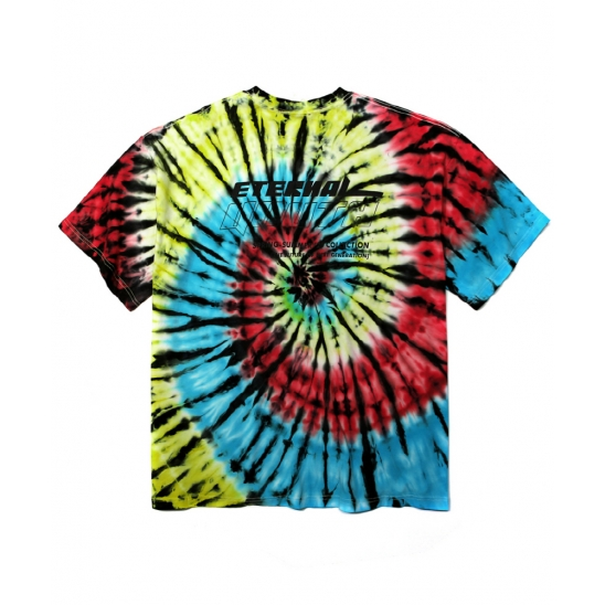 TIE DYE SLOGAN LOGO PRINTED T-SHIRT(4 COLORS)